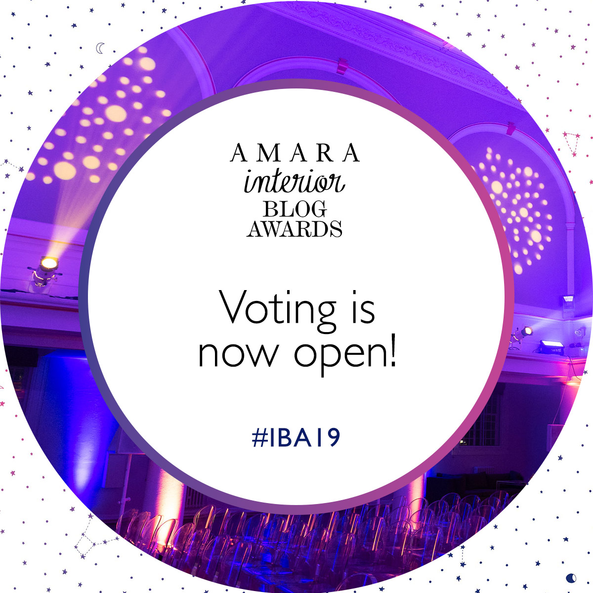 The Amara interiors blog awards voting banner 2019.