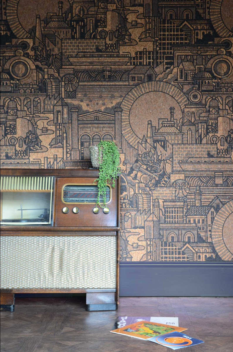 A photo of the wallpaper made from cork, By Monkey Puzzle Tree