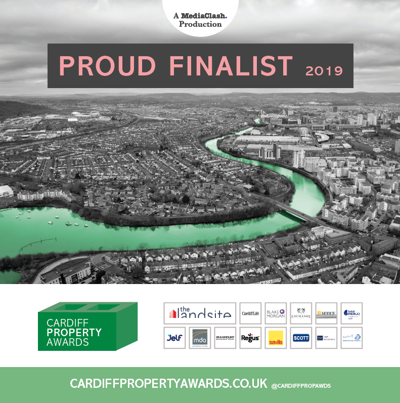 A digital window sticker for being a Cardiff Property Awards finalist.