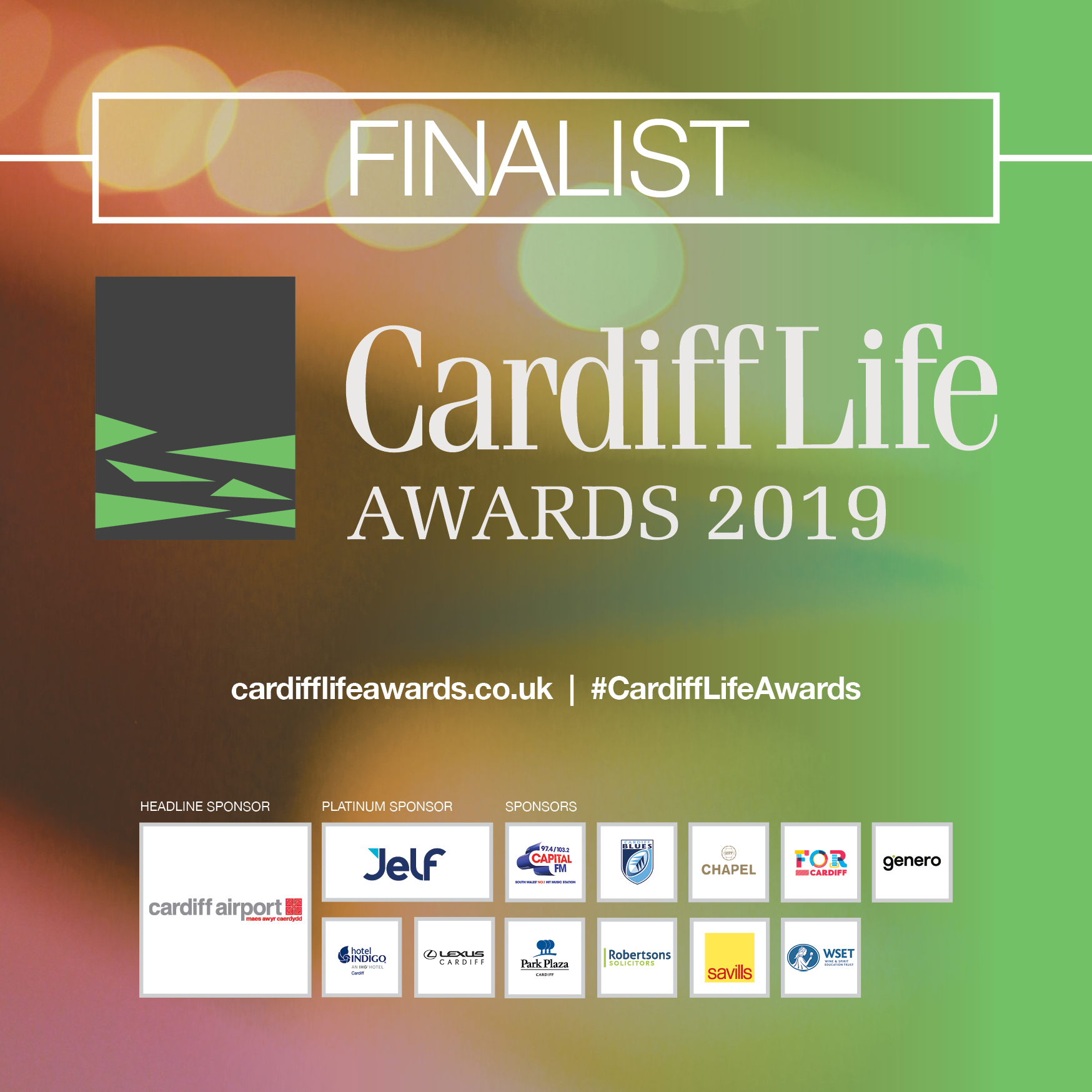 A digital window sticker for being a Cardiff Life Awards finalist.
