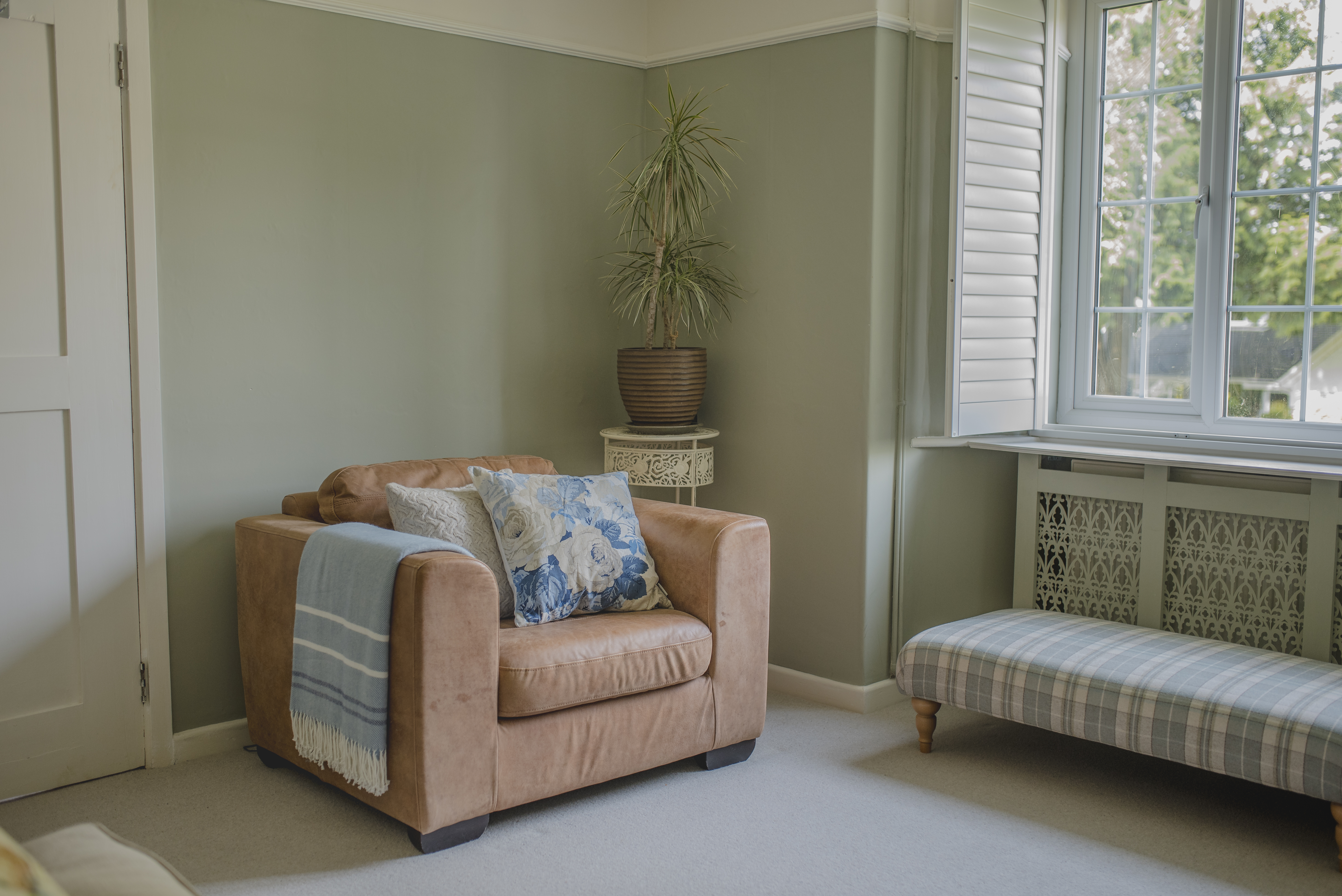 A room painted in a calming soft green colour.