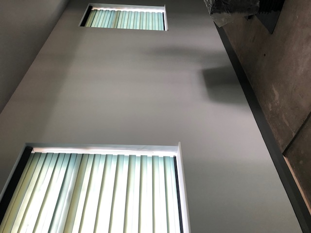 A photo of the new blinds fully closed.