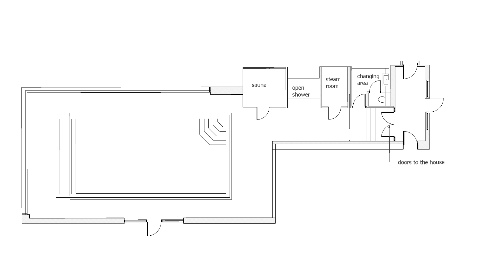 The proposed floor plan showing the pool and gym areas.