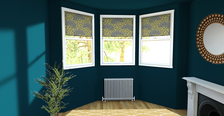 a picture of a bay window with roller blinds on each window