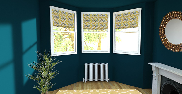 a picture of a bay window with Roman blinds at each window