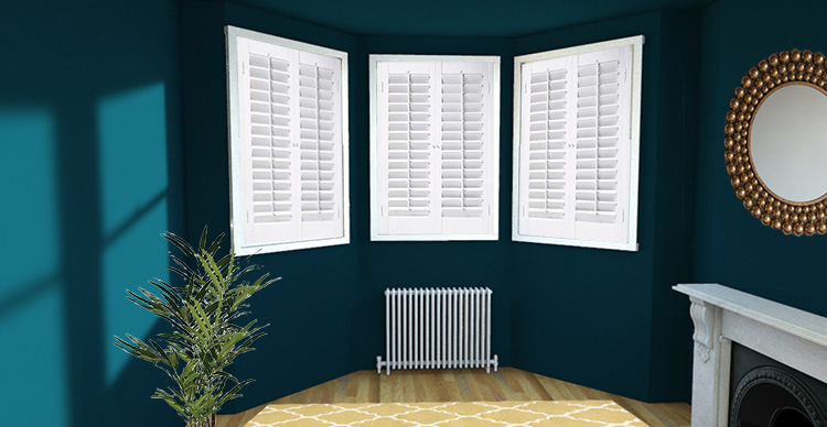 a picture of a bay window with shutters on each window