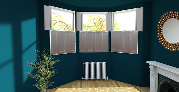 a picture of a bay window with solid shutters on each window