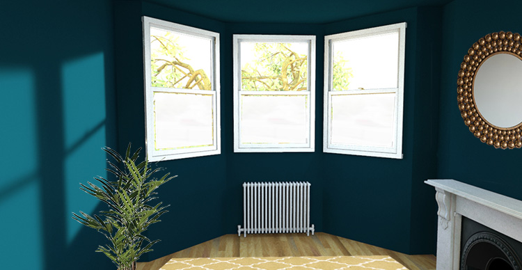 A picture of a bay window with window film on the lower half of each window.