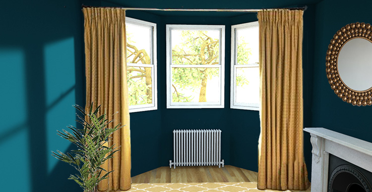 A picture of a pair of curtains hung straight across a bay window