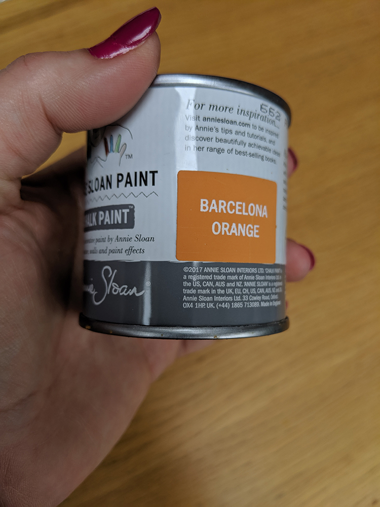 A photo of the Barcelona Orange tester pot.