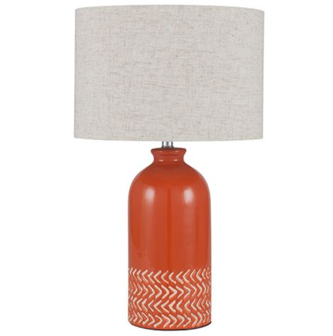 A photo of a table lamp with an orange base that I liked.