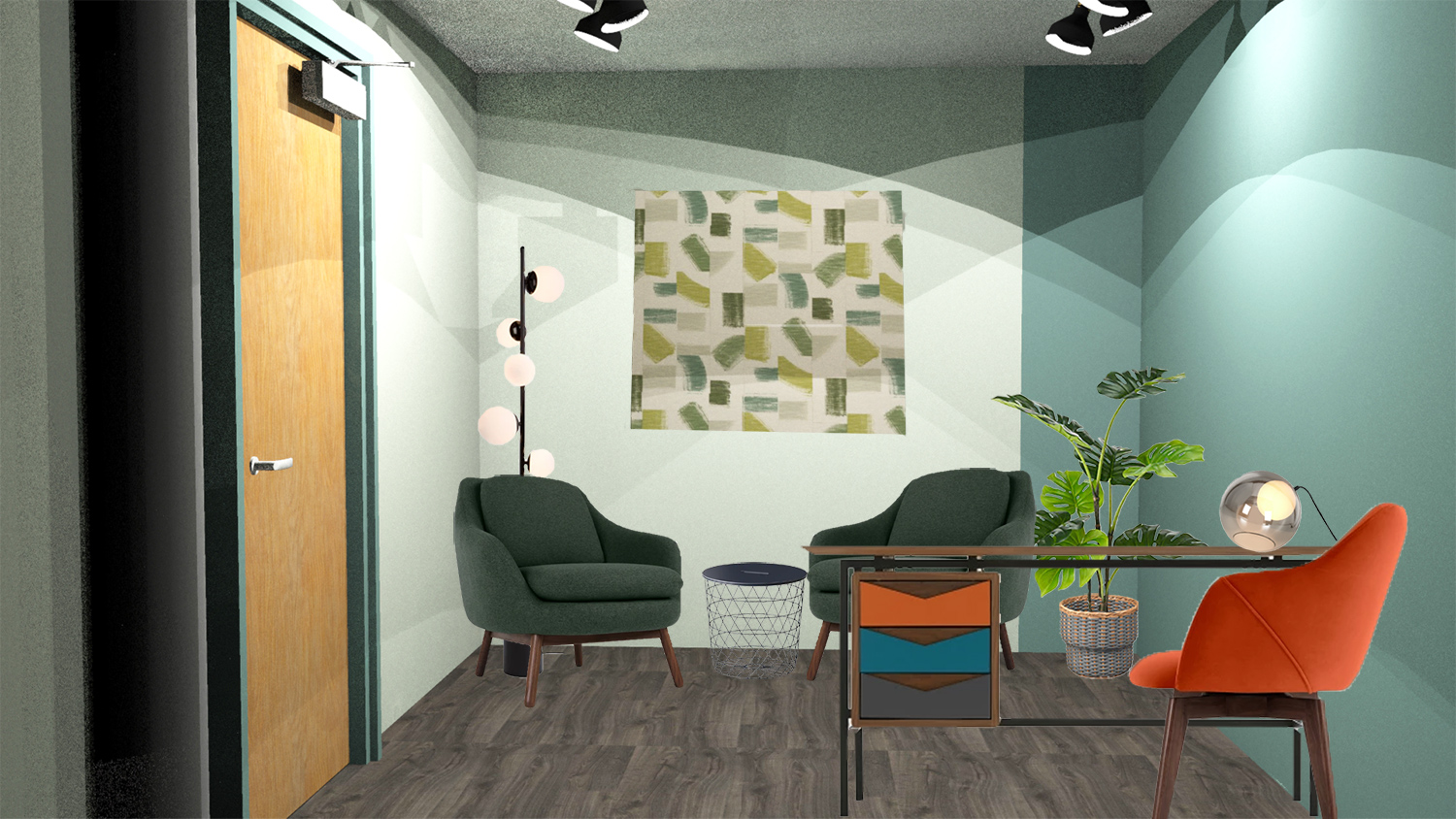 A computer generated image of my design for the rooms used by the counselling service.