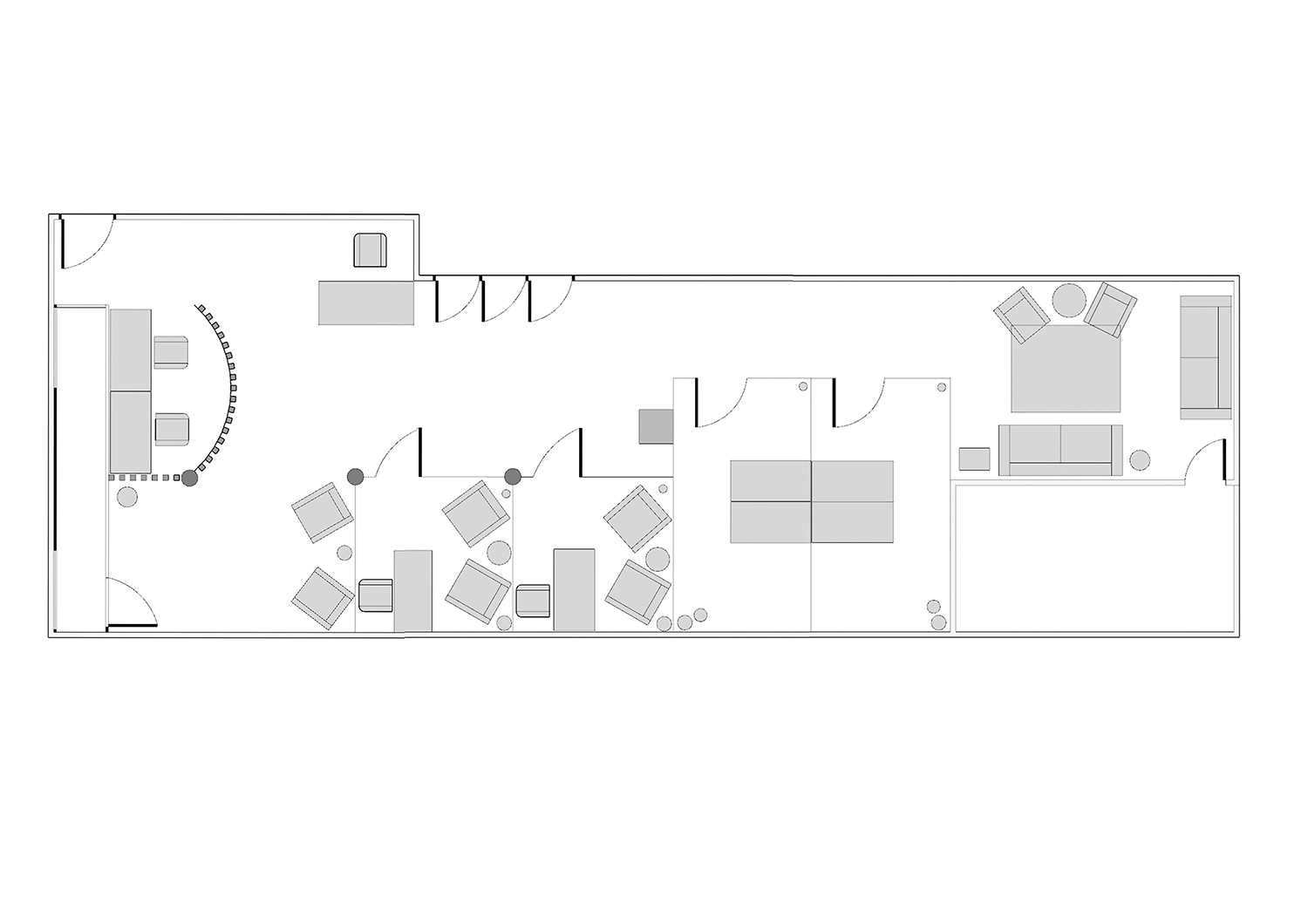 A scale floorplan with the proposed new layout.