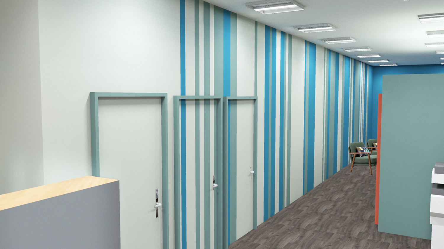 A computer generated image of the striped wall leading to the reception area.