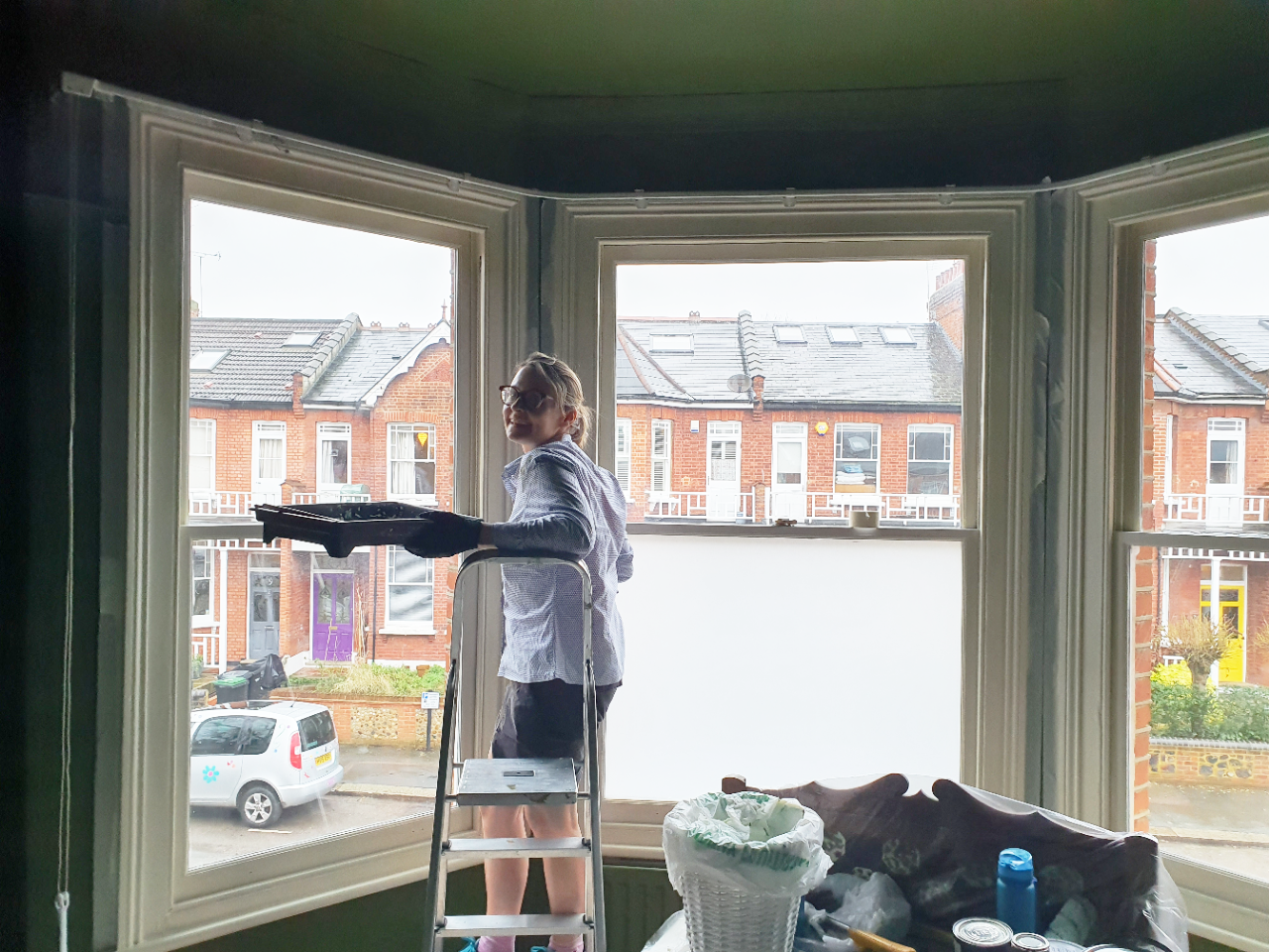 A photo of one of the clients decorating.