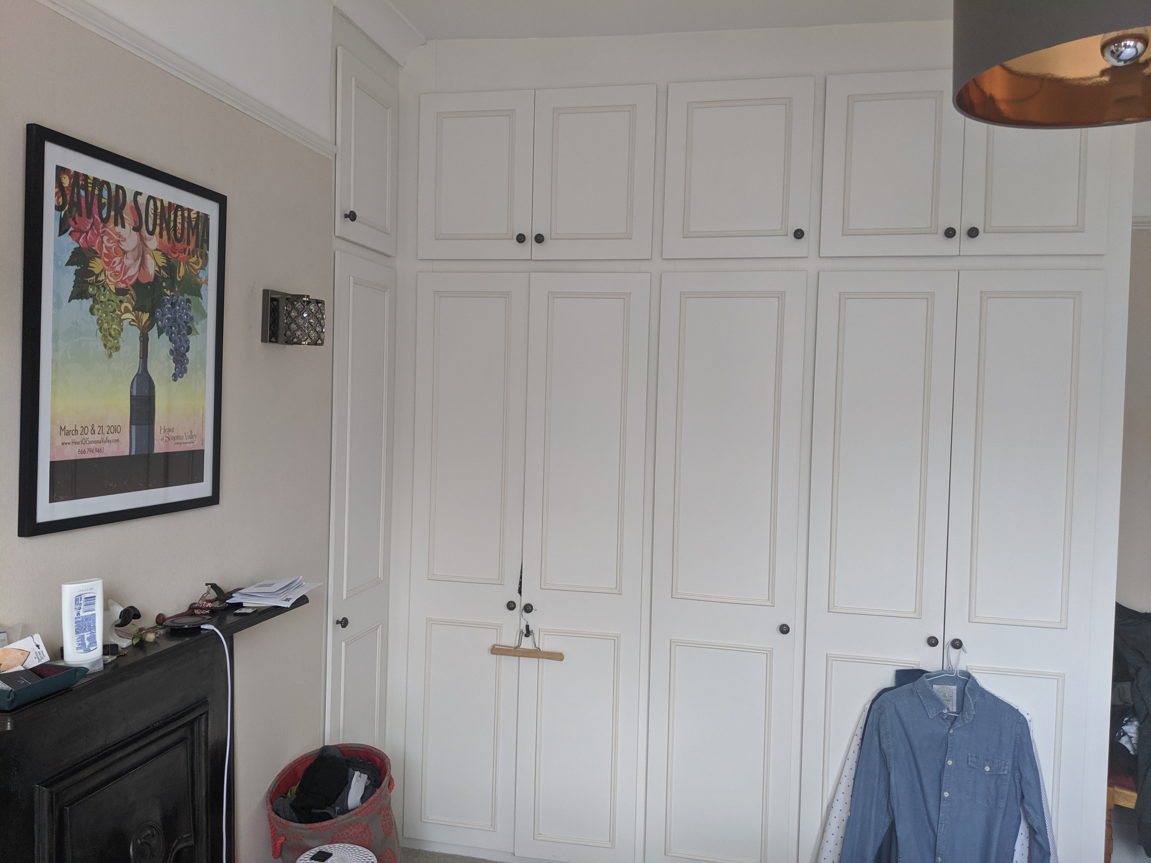 A photo of the ugly built in wardrobes before they were transformed.