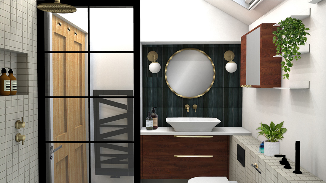 A computer generated image of a recent bathroom design I produced.