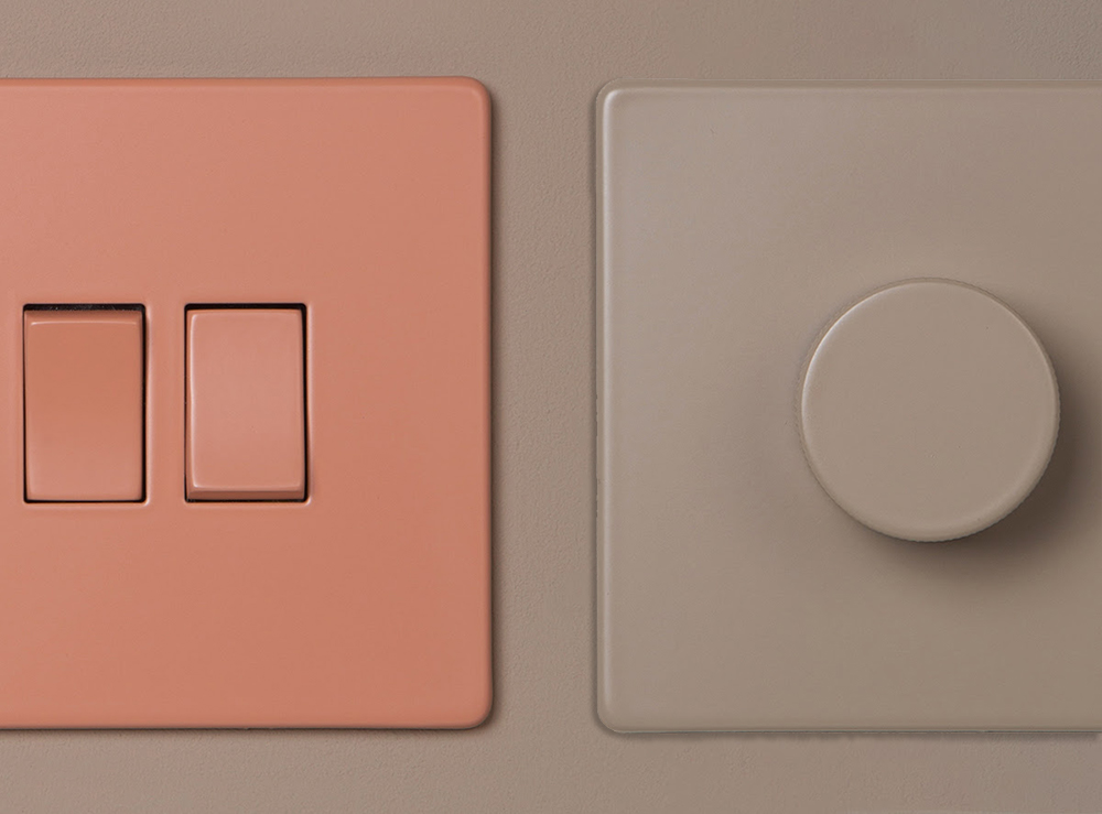 A photo of two of the new light switches from Dowsing & Reynolds