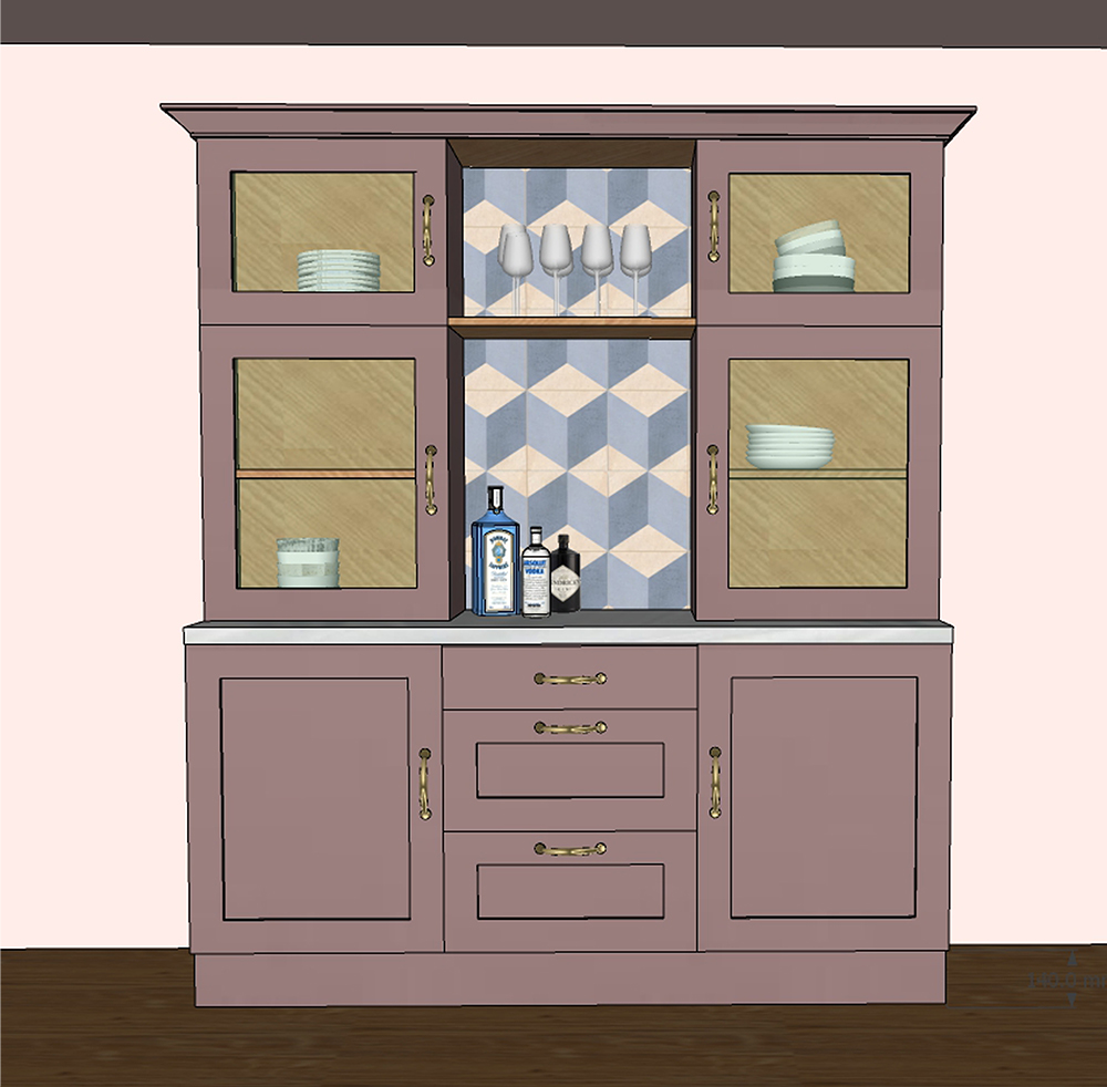 A model of the dresser I designed to add more storage to the kitchen.