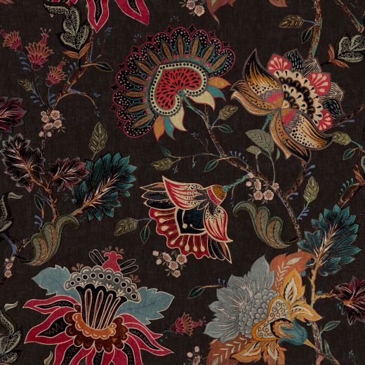 A photo of the vintage botanical black wallpaper from Paloma Home.