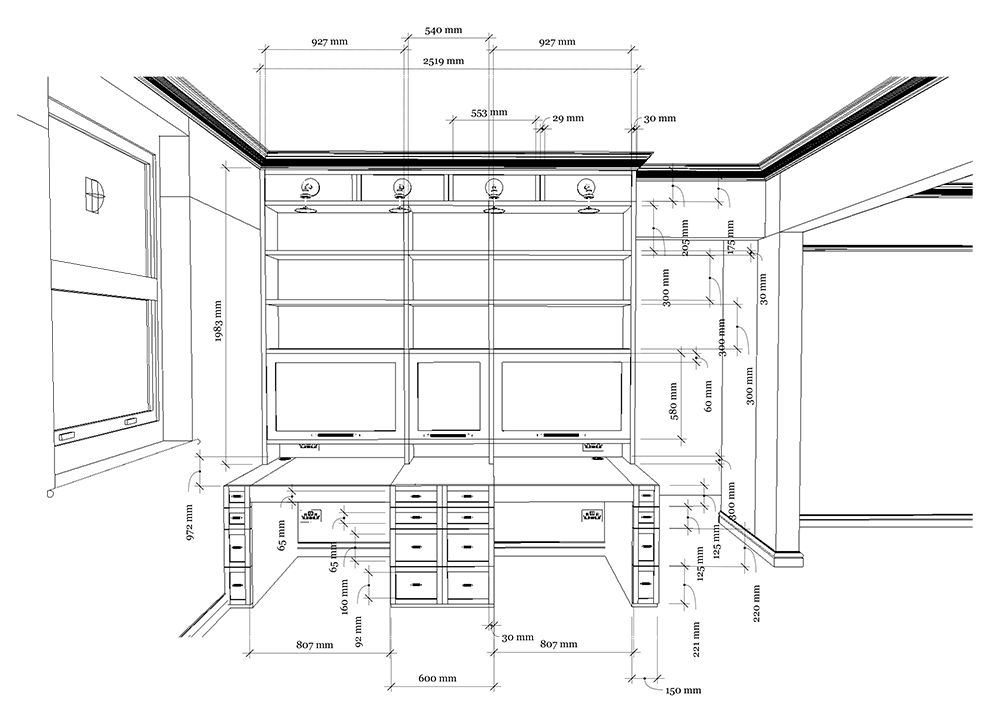 A line drawing of the design for the desk with dimensions