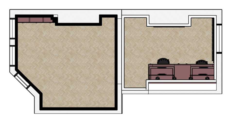 A floor plan view of the rooms from above showing where the desk will be.