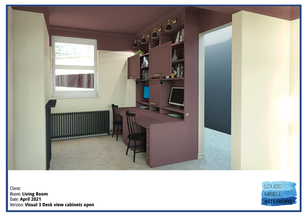 A computer generated image of the side on view of the desk with the cabinets open.