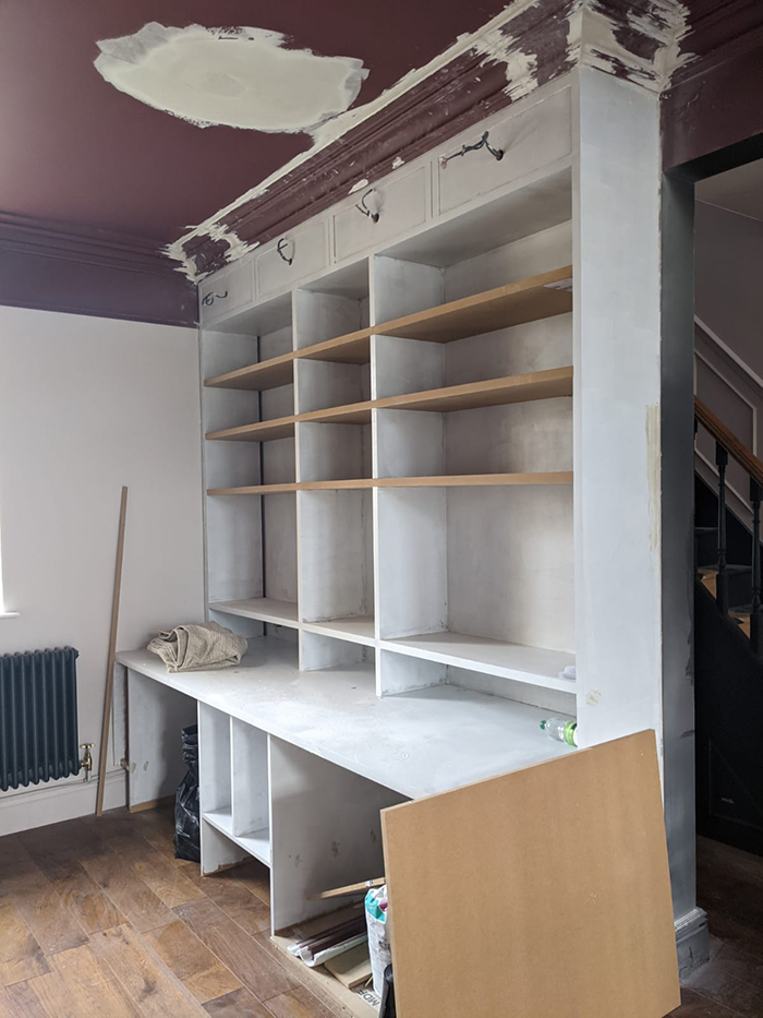 A photo of the desk once the coving and undercoat had gone on