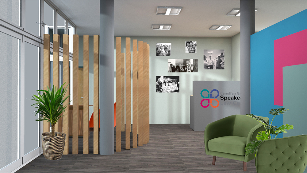 A computer generated render of the design for a law centre, including a wooden baton screen.