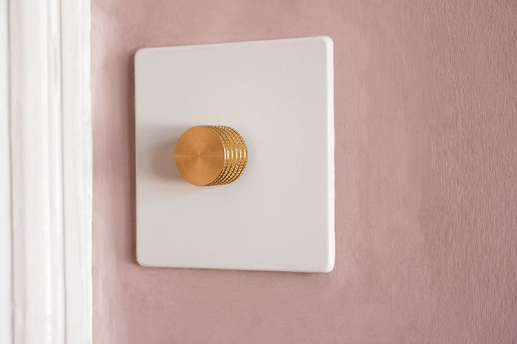 A close up of the new brass dimmer switch on a white back plate.