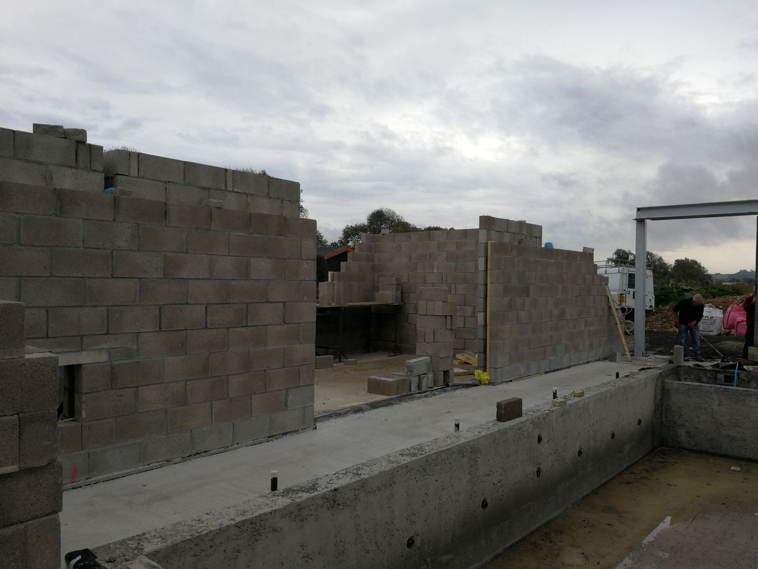 The gym walls under construction.