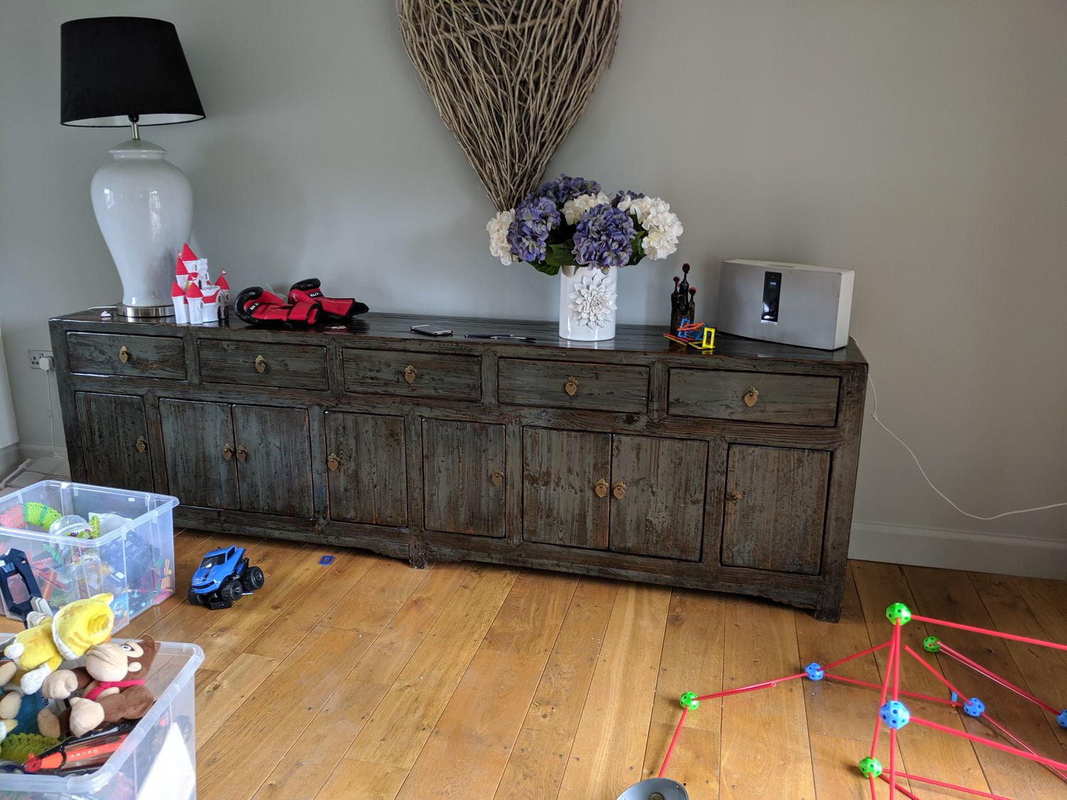 A photo of the long sideboard which was in the living room before the kitchen was installed.
