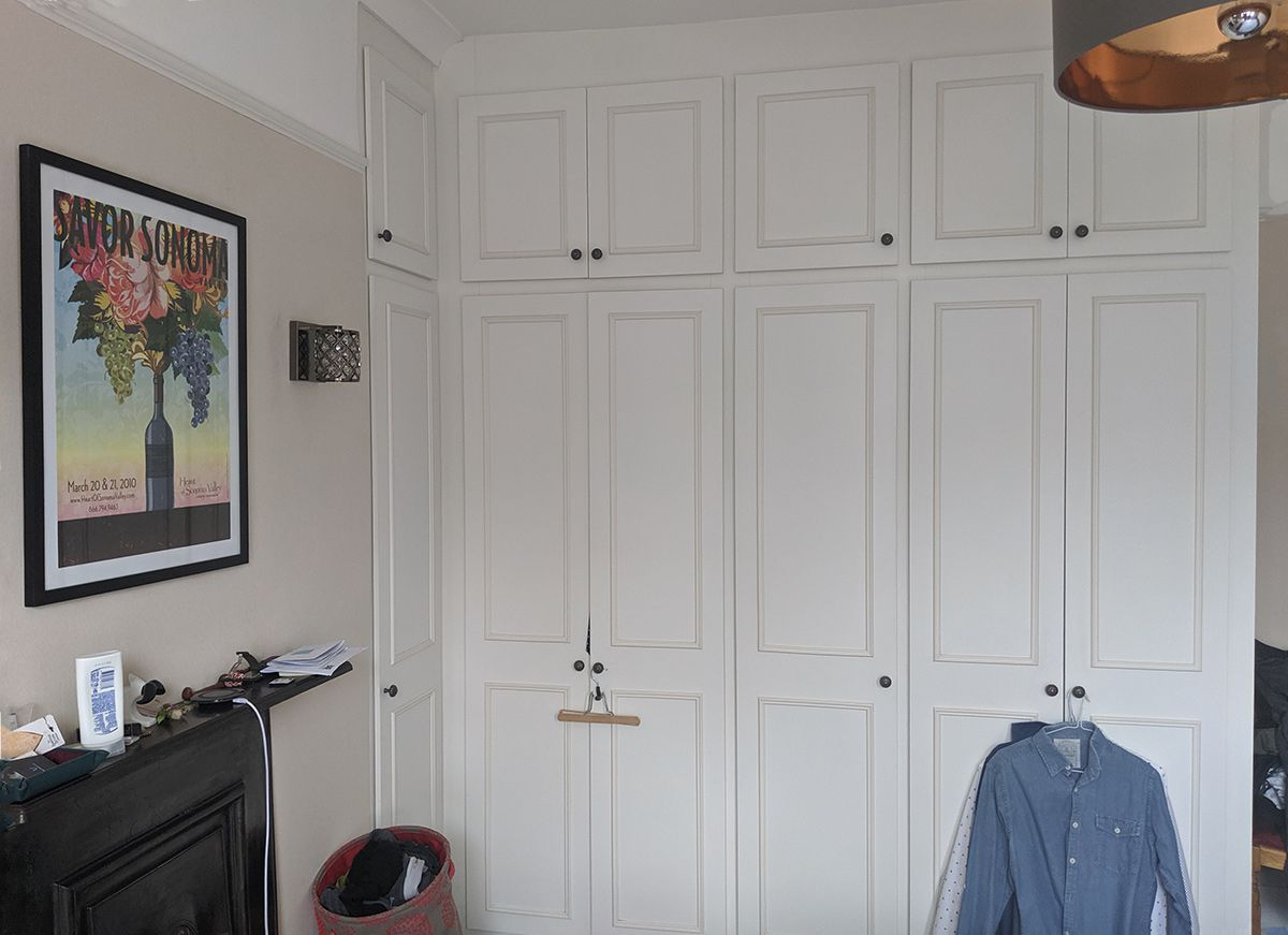 The white melamine wardrobes before they were painted.