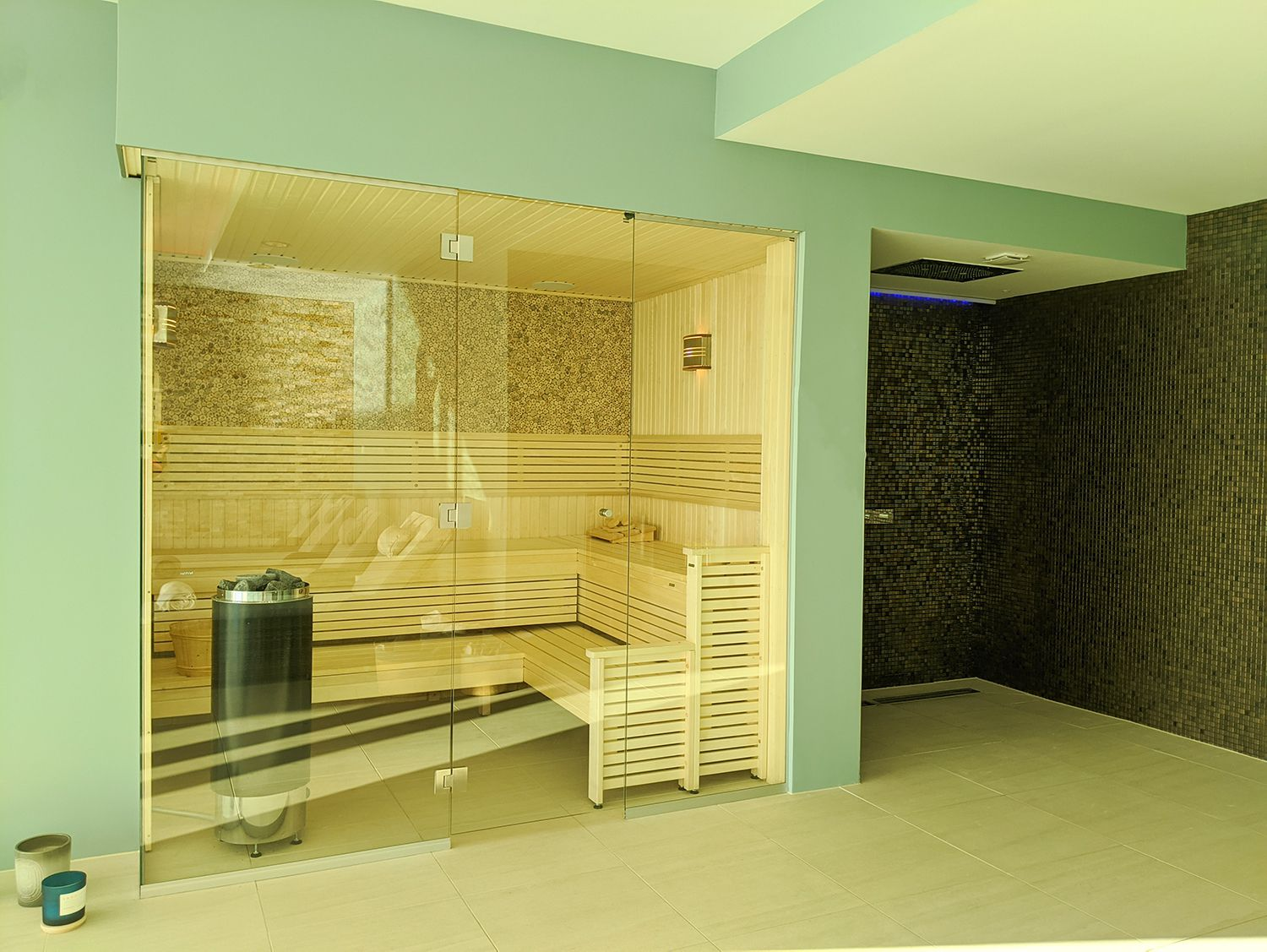 A photo of the new sauna and open shower area.