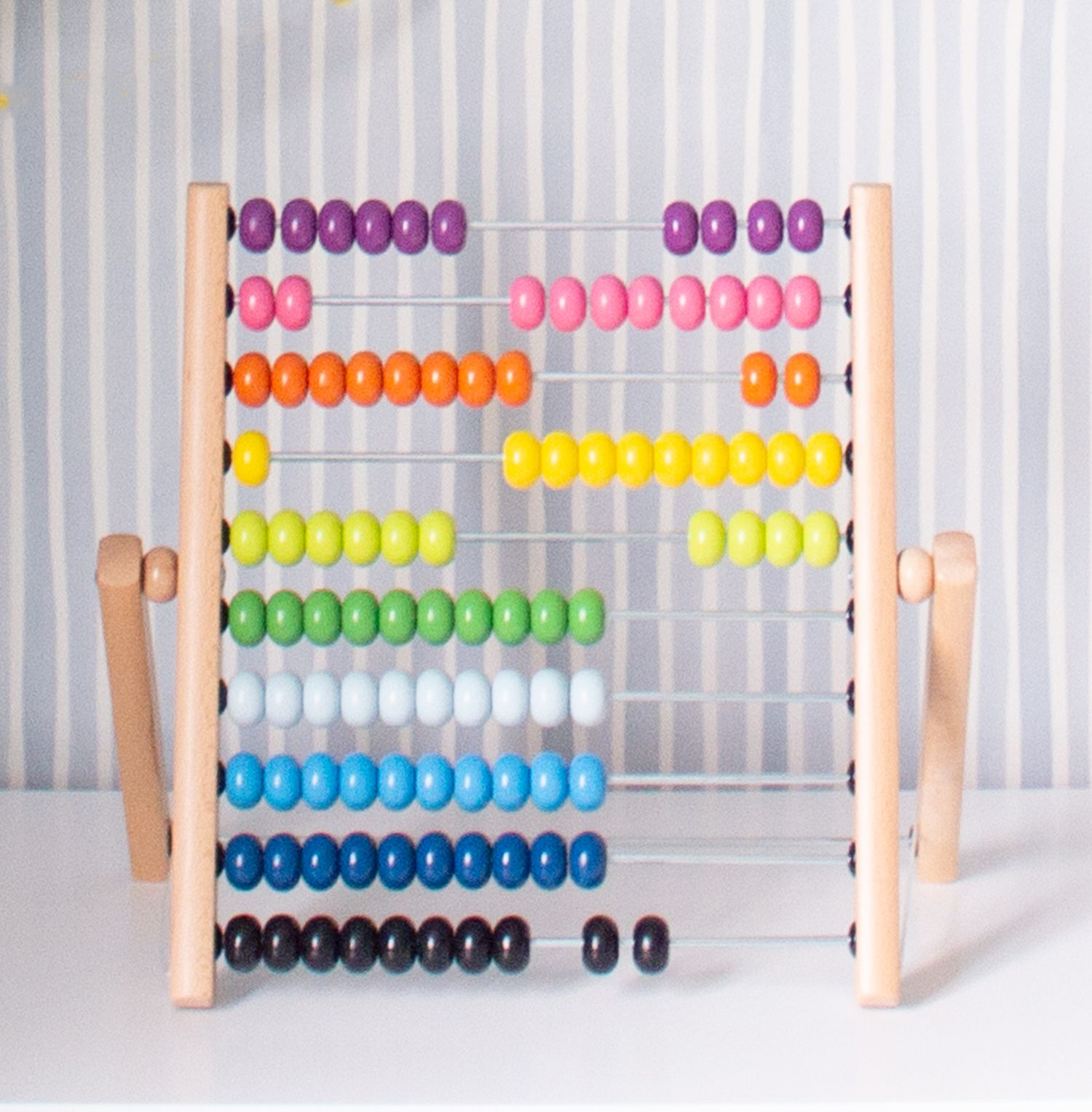 A close up of the rainbow coloured abacus on top of the dresser.