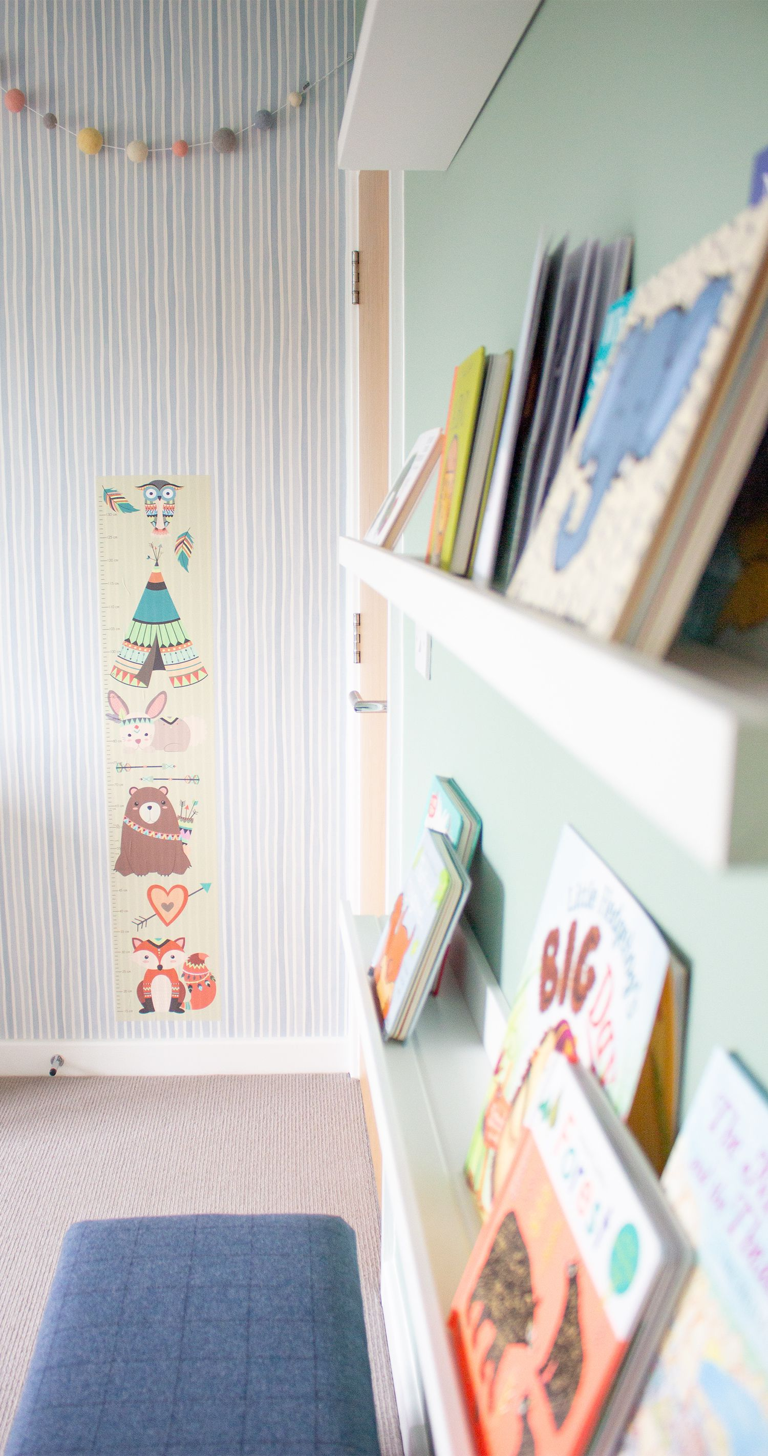A close up looking down the picture shelves to the animal themed height chart.
