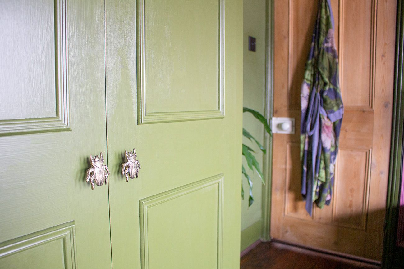 A close up of the new beetle shaped handles on the wardrobes, with the bedroom door in the background.