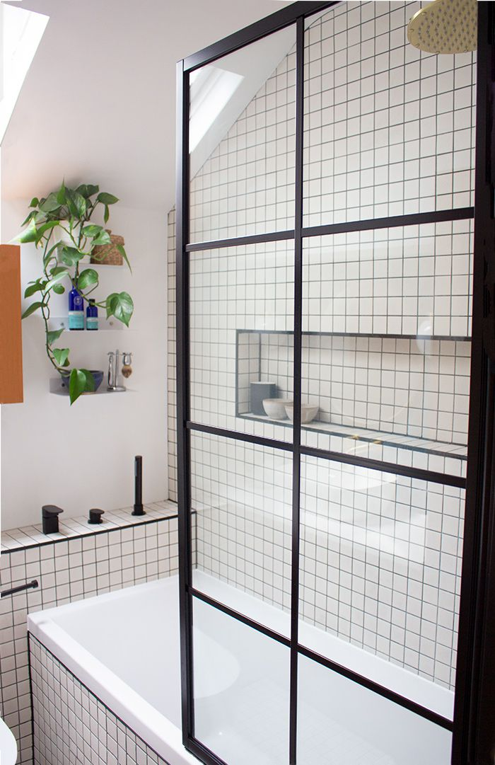 A view of the shower screen looking through to the new bathroom.